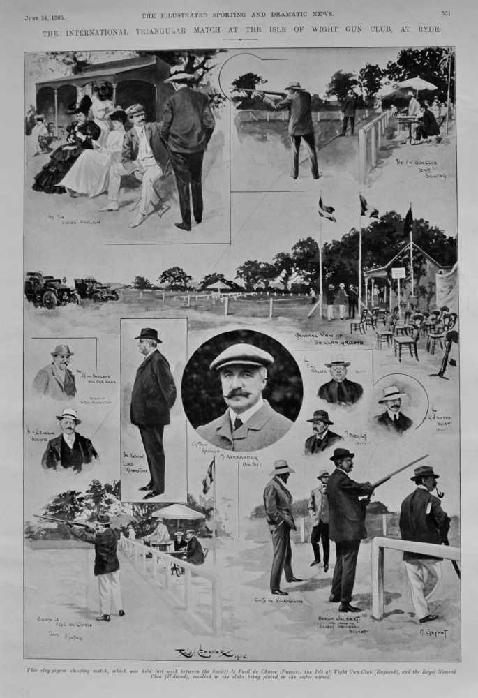 The International Triangular Match at the Isle of Wight Gun Club, at Ryde.  1905.