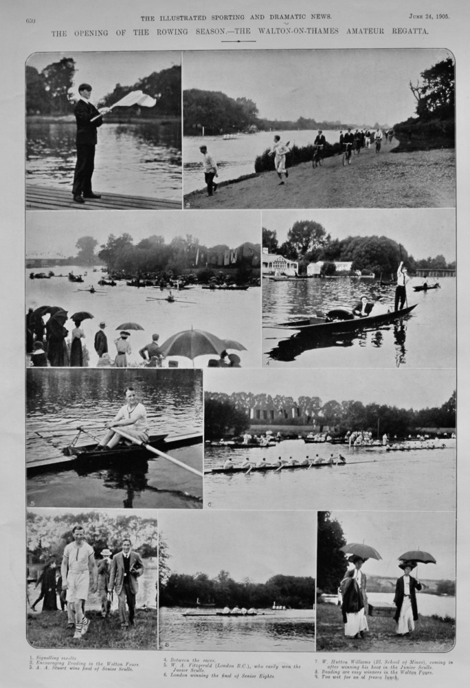 The Opening of the Rowing Season.- The Walton-on-Thames Amateur Regatta.  1905.