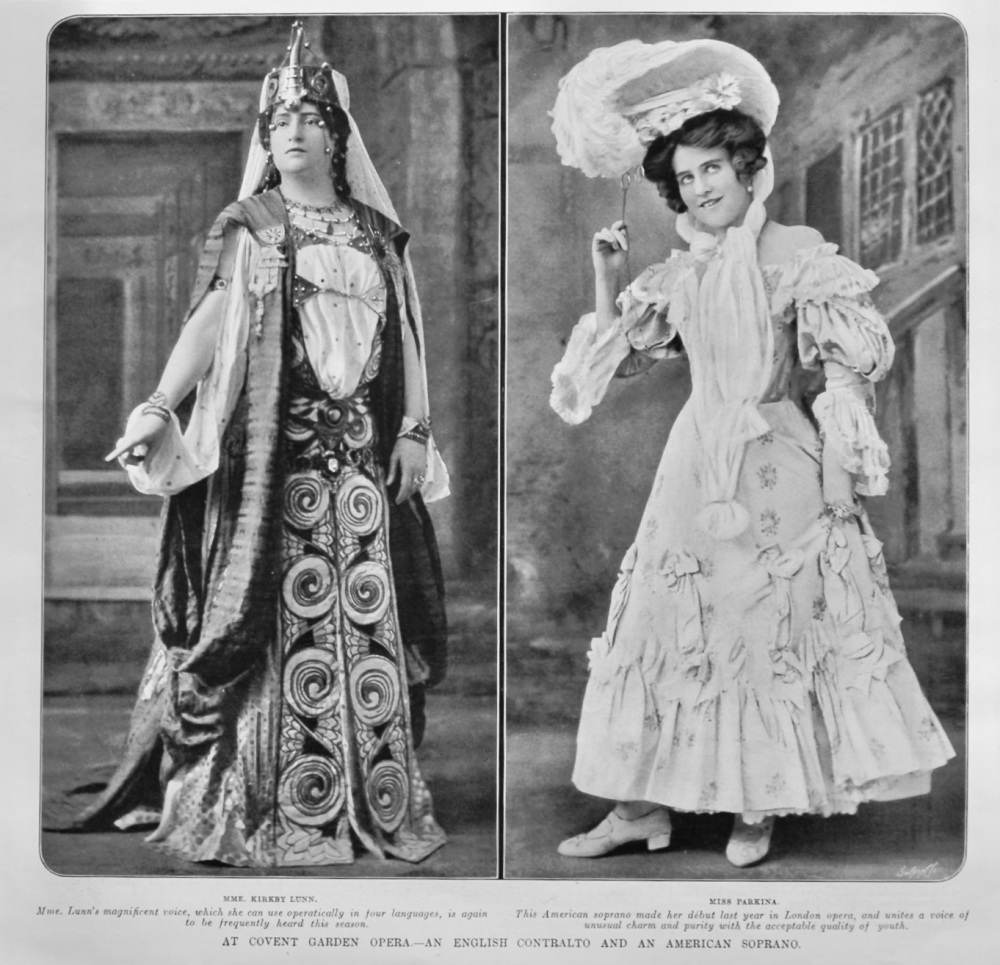 At Covent Garden Opera.- An English Contralto and an American Soprano.  1905.