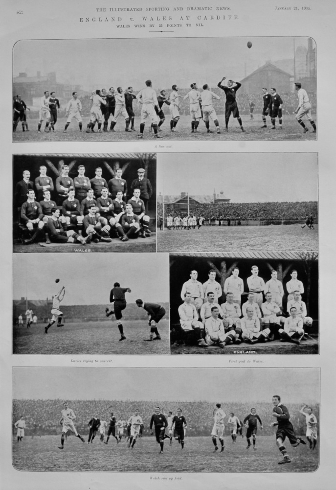 England v. Wales at Cardiff. :  Wales wins by 25 Points to Nil.  1905.