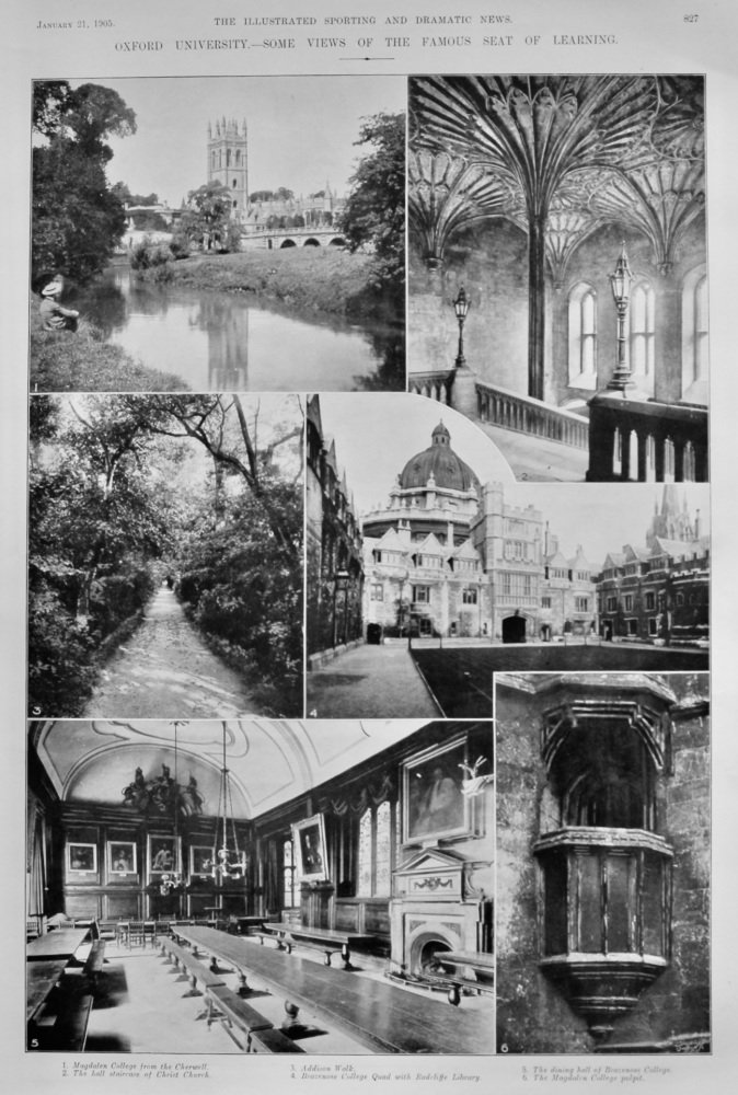 Oxford University.- Some views of the Famous Seat of Learning.  1905.