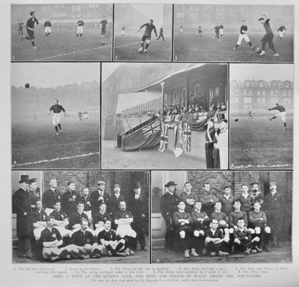Army v. Navy at the Queen's Club.- The King and Prince of Wales among the Spectators.  (Football) 1905.