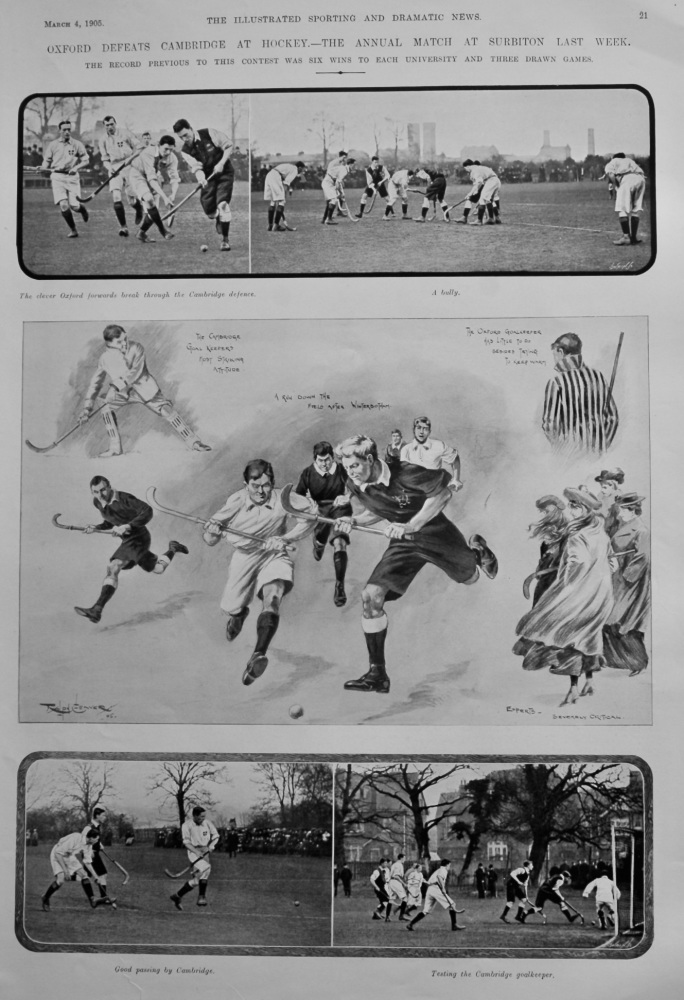 Oxford Defeats Cambridge at Hockey.- The Annual Match at Surbiton Last Week.  1905.