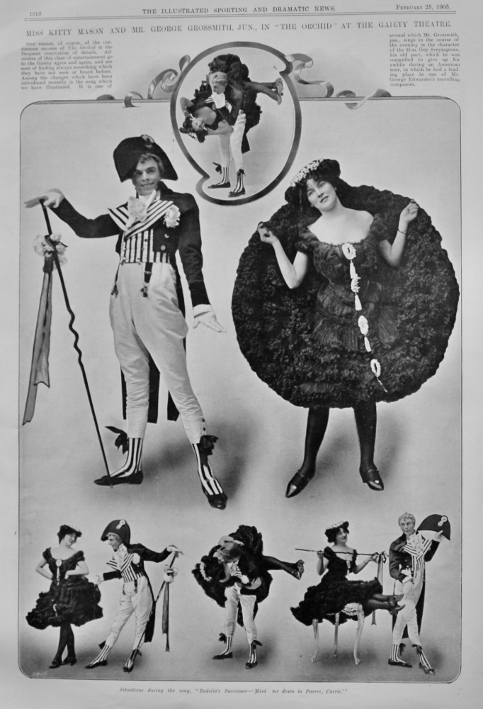 """Miss Kitty Mason and Mr. George Grossmith, jun., in """"The Orchid"""" at the Gaiety Theatre."""