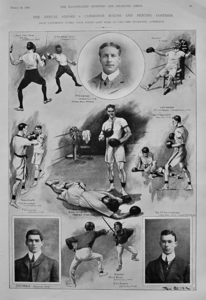 The Annual Oxford v. Cambridge Boxing and Fencing Contests.  1905.