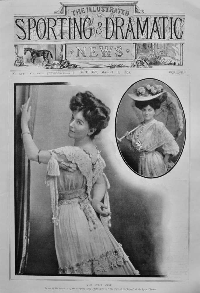 """Miss Lydia West, as one of the daughters of the designing Lady Nightingale in """"The Talk of the Town,"""" at the Lyric Theatre.  1905."""