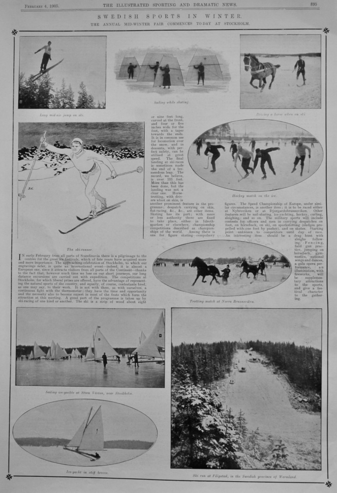 Swedish Sports in Winter  :  The Annual Mid-Winter Fair Commences To-day at Stockholm.  1905.