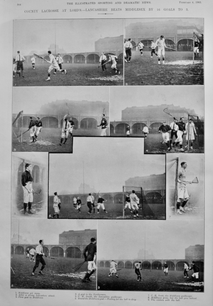 County Lacrosse at Lord's.- Lancashire Beats Middlesex by 16 Goals to 3.  1905.