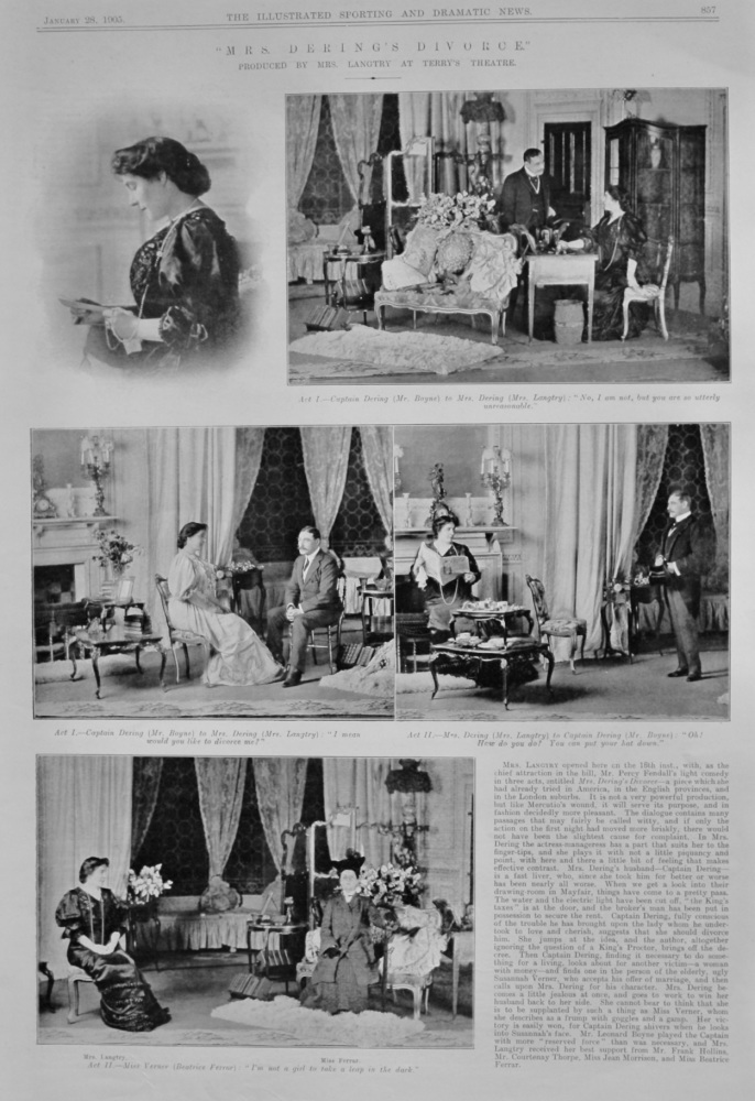 Mrs. Derings's Divorce. :  Produced by Mrs. Langtry at Terry's Theatre.  1905.