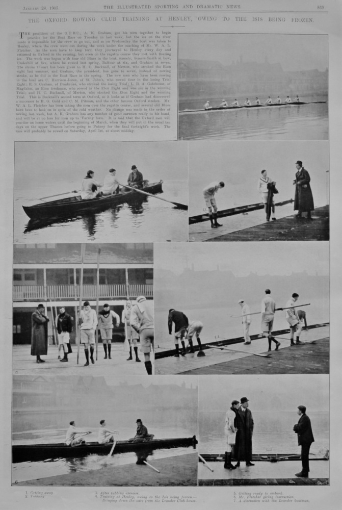 The Oxford Rowing Club Training at Henley, Owing to the Isis being Frozen.  1905.