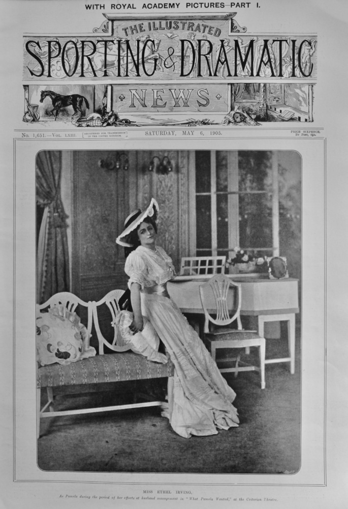 """Miss Ethel Irving, as Pamela during the period of her efforts at husband management in """"What Pamela Wanted,"""" at the Criterion Theatre.  1905."""