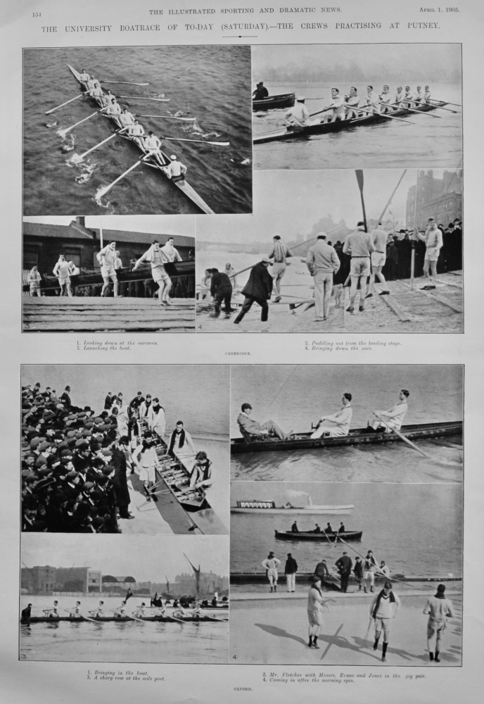 The University Boat Race of To-day (Saturday).- The Crews Practising at Putney.  1905.