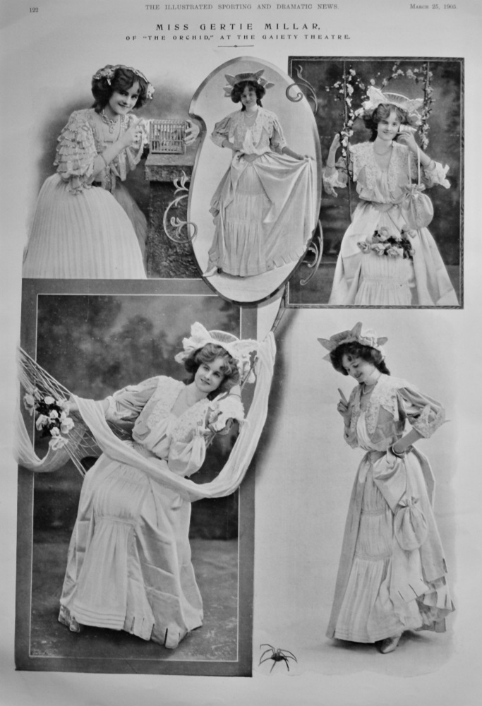 """Miss Gertie Millar, of """"The Orchid,"""" at the Gaiety Theatre.  1905."""