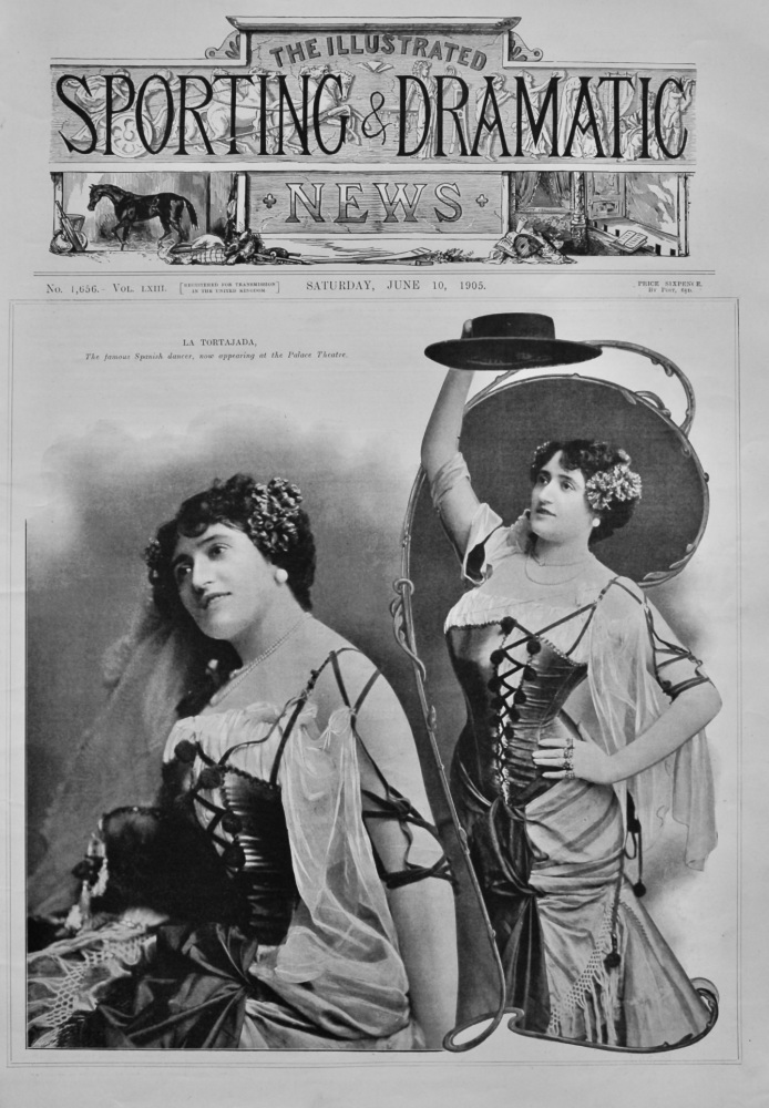 La Tortajada, the famous Spanish Dancer, now appearing at the Palace Theatre.  1905.