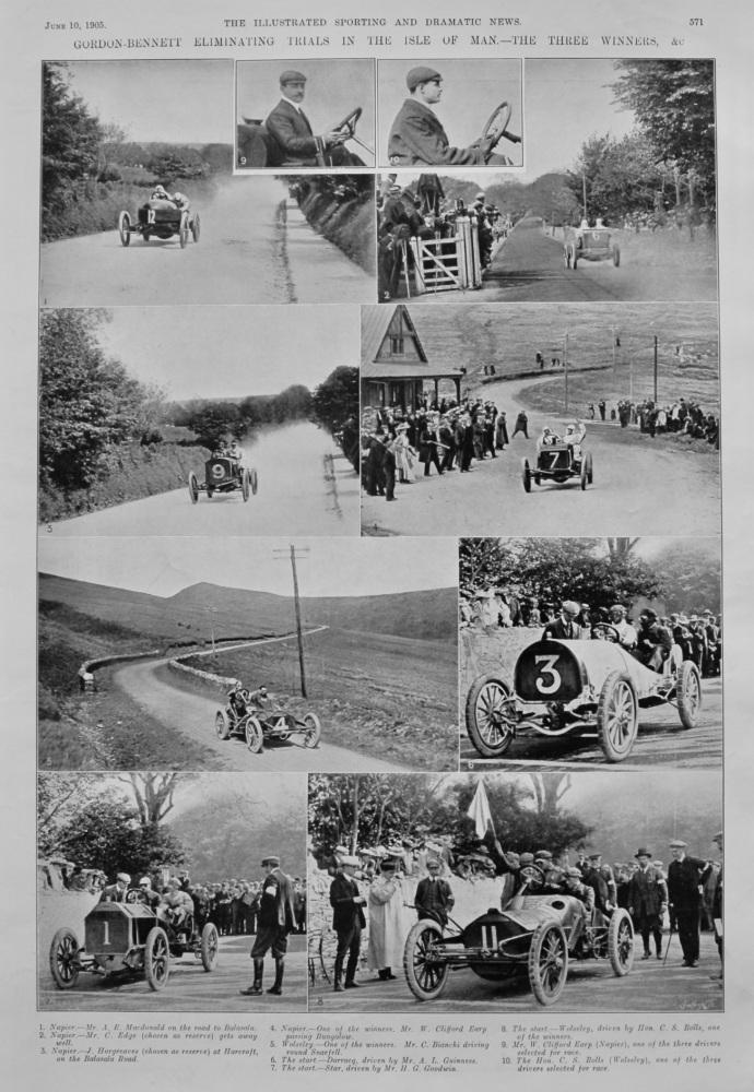 Gordon-Bennett Eliminating Trials in the Isle of Man.- The Three Winners, &c.  1905.