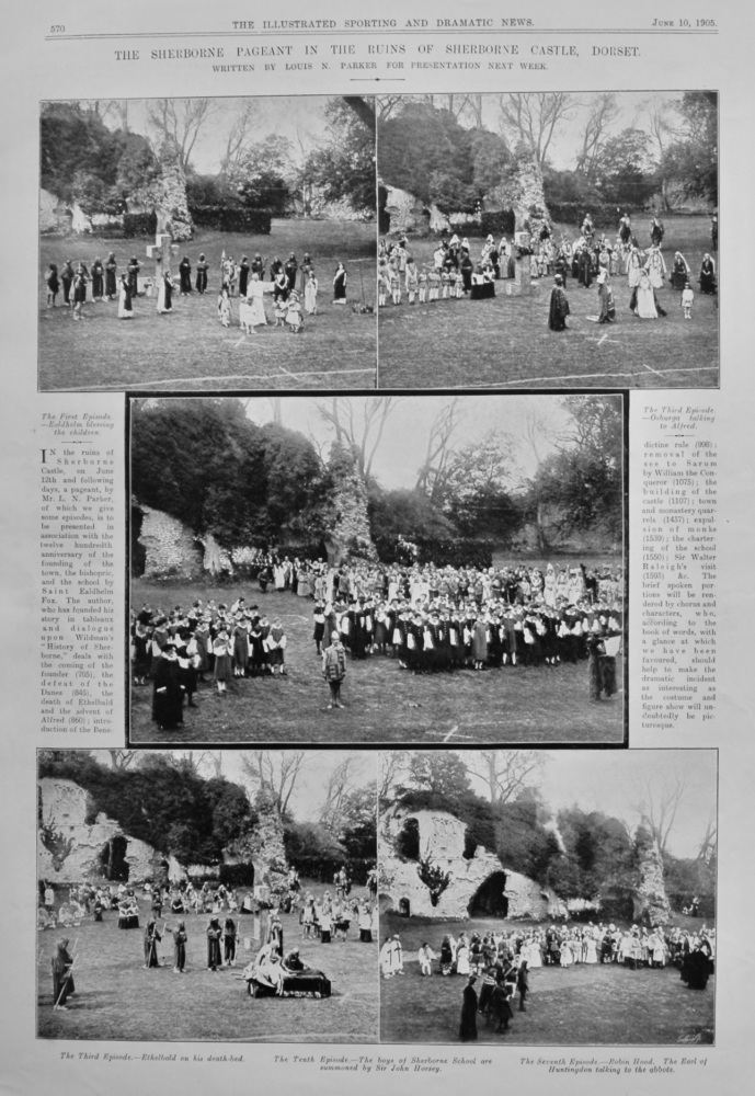The Sherborne Pageant in the Ruins of Sherborne Castle, Dorset.  1905.