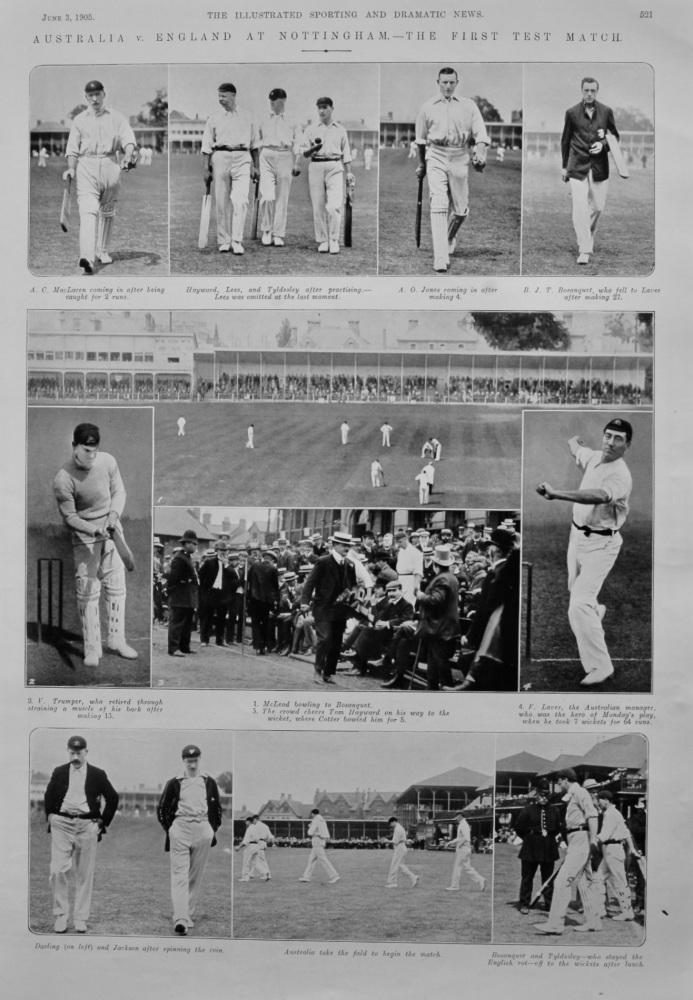 Australia v. England at Nottingham.- The First Test Match.  1905.