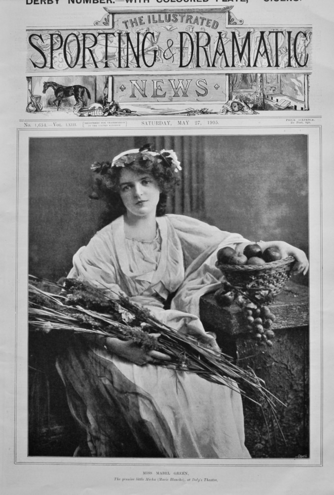 Miss Mabel Green, the genuine little Michu (Marie Blanche), at Daly's Theatre.  1905.