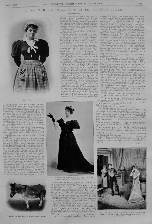 A Talk with Miss Rosina Filippi at the Vaudeville Theatre.  1905.