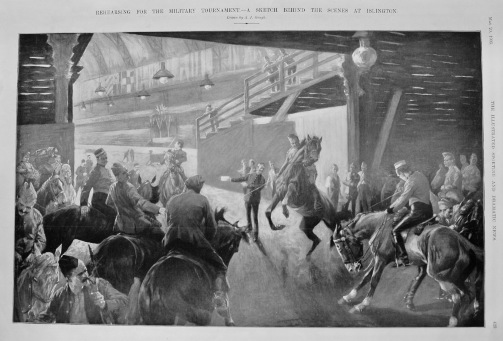 Rehearsing for the Military Tournament.- A Sketch behind the Scenes at Islington.  1905.