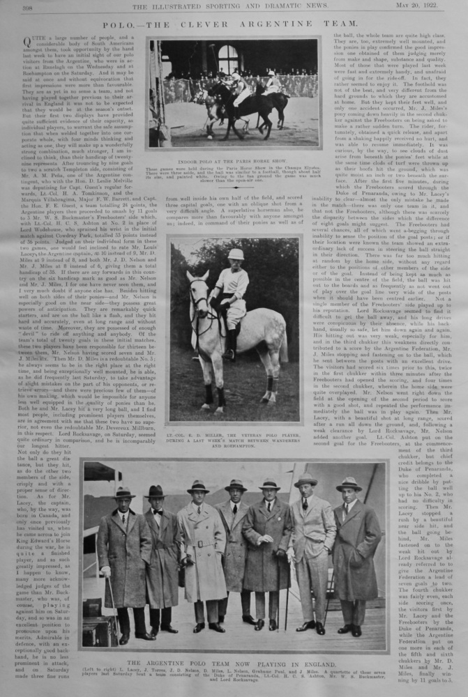 Polo. The Clever Argentine Team.  1922.