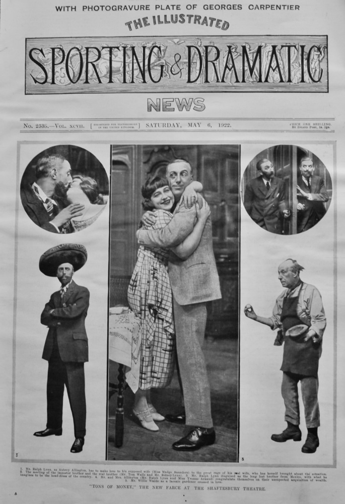 """""""Tons of Money,"""" The New Farce at the Shaftesbury Theatre. 1922."""