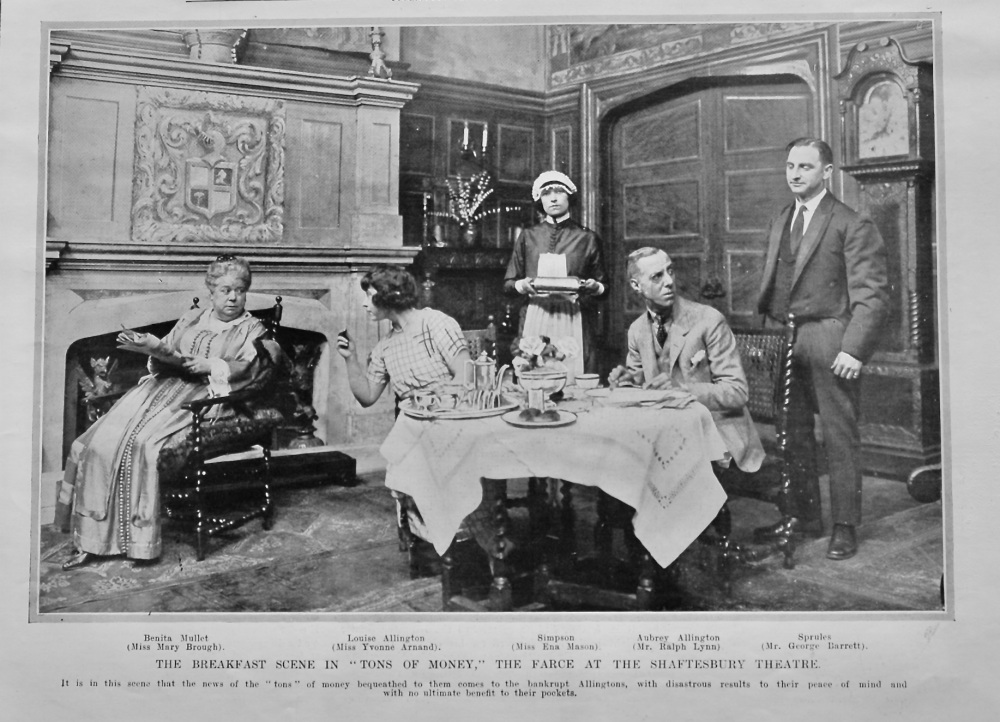 """The Breakfast Scene in """"Tons of Money,"""" the Farce at the Shaftesbury Theatre.  1922."""