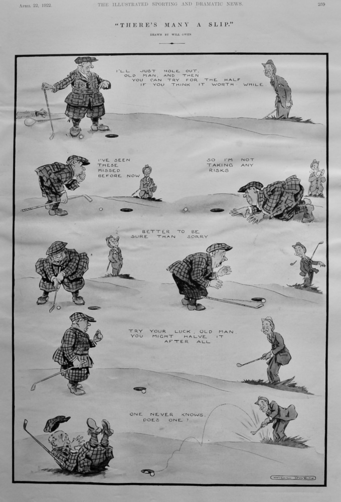 """""""There's many a Slip."""" (Golf).  1922."""