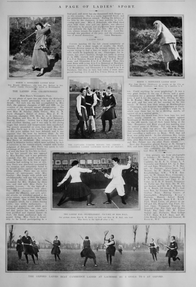 A Page of Ladies Sport.  1922.