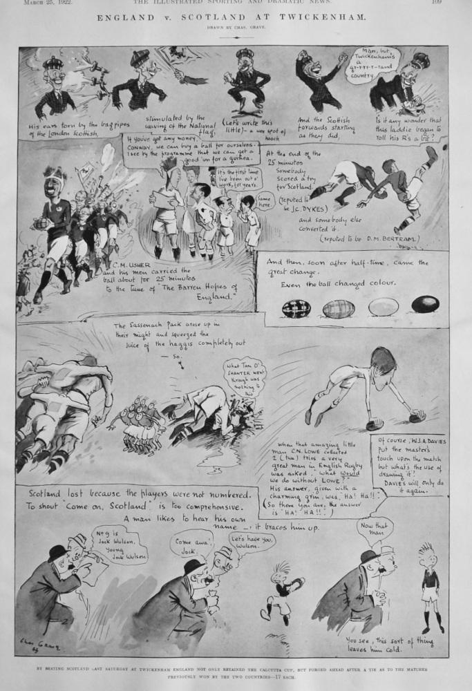 England v. Scotland at Twickenham.  1922. (Rugby).