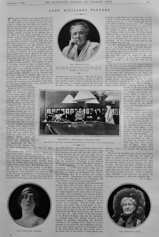 Ladies Billiards Players.  1922.