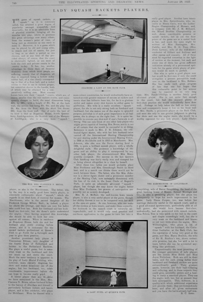 Lady Squash Rackets Players.  1922.