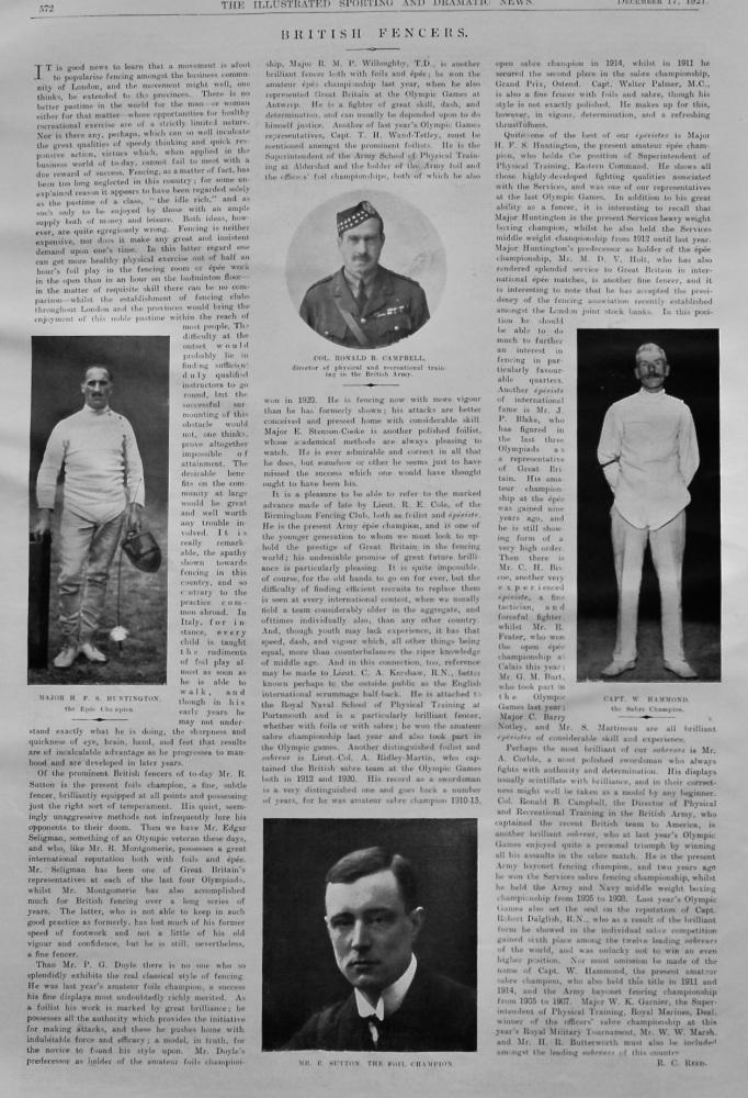 British Fencers.  1921.