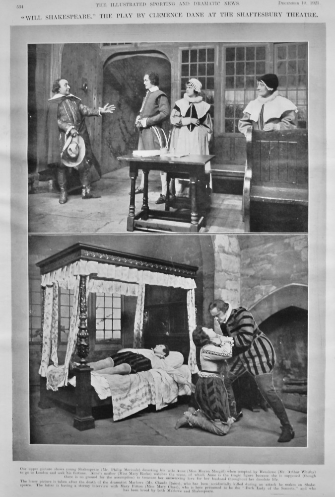 """""""Will Shakespeare."""" The Play by Clemence Dane at the Shaftesbury Theatre.  1921."""