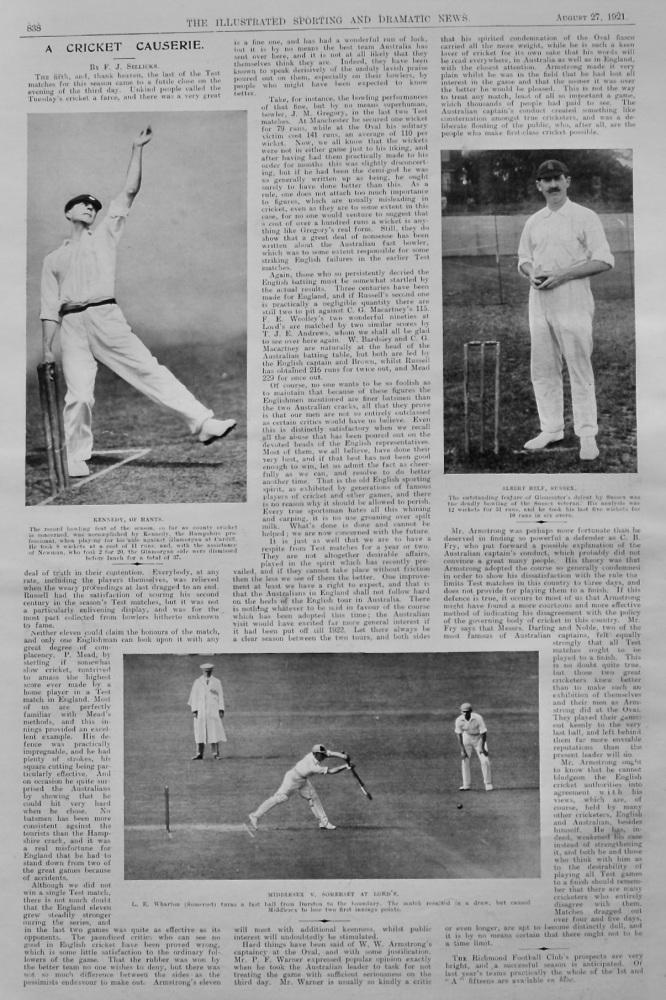 A Cricket Causerie. (Written by F. J. Sellicks).   1921.