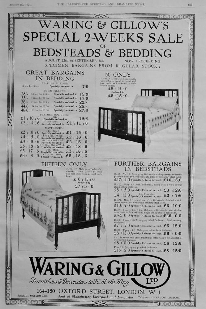 Waring & Gillow Ltd.  August 27th, 1921.