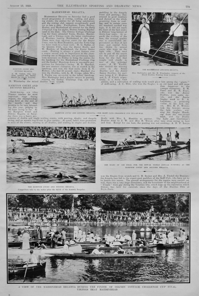 Hampton Court and Dittons Regatta.  &  Maidenhead Regatta.  1921.