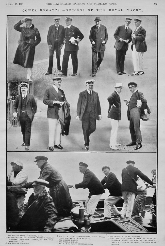 Cowes Regatta.- Success of the Royal Yacht.  1921.