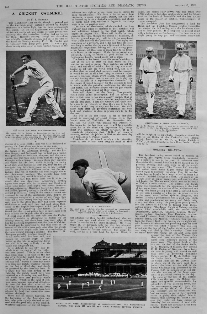 A Cricket Causerie.  August 6th, 1921.