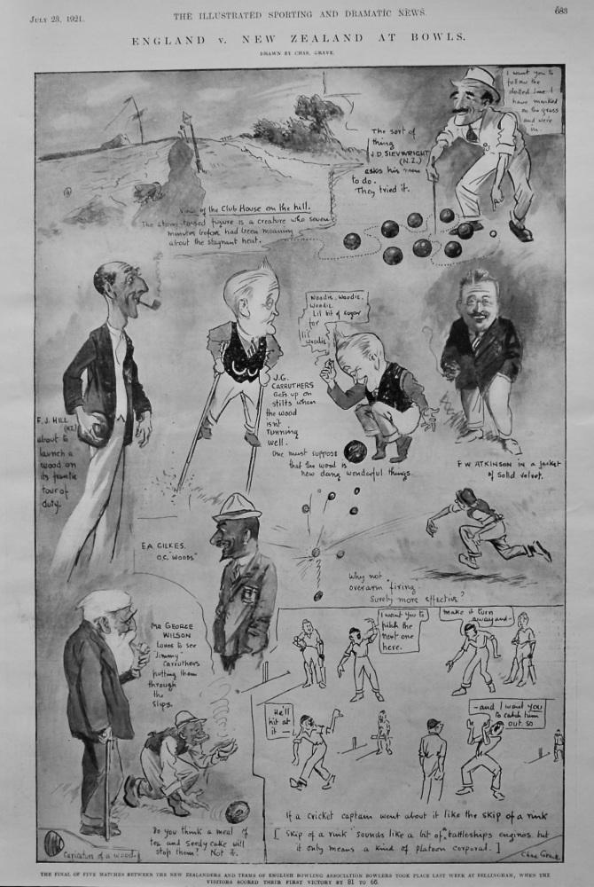England v. New Zealand at Bowls.  1921.