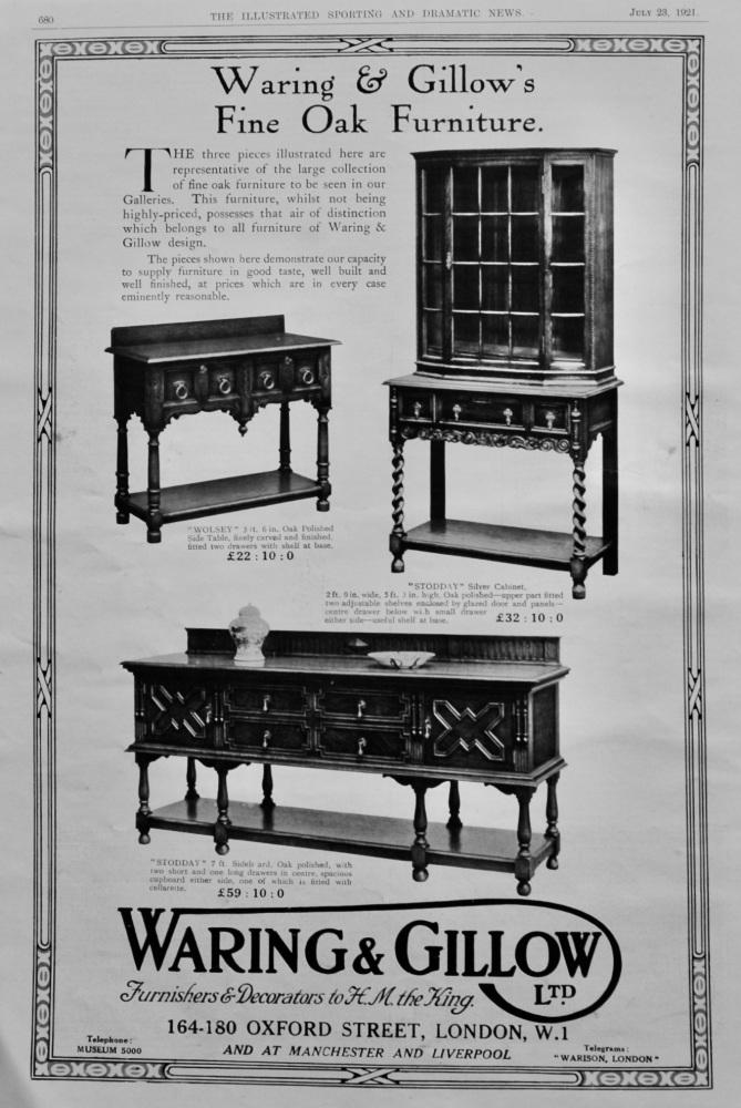 Waring & Gillow Ltd.  July 23rd,. 1921. (Fine Oak Furniture)