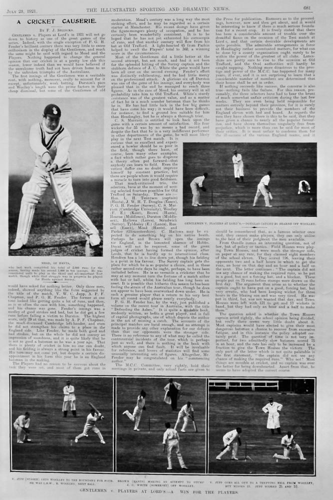 A Cricket Causerie.  July 23rd, 1921.