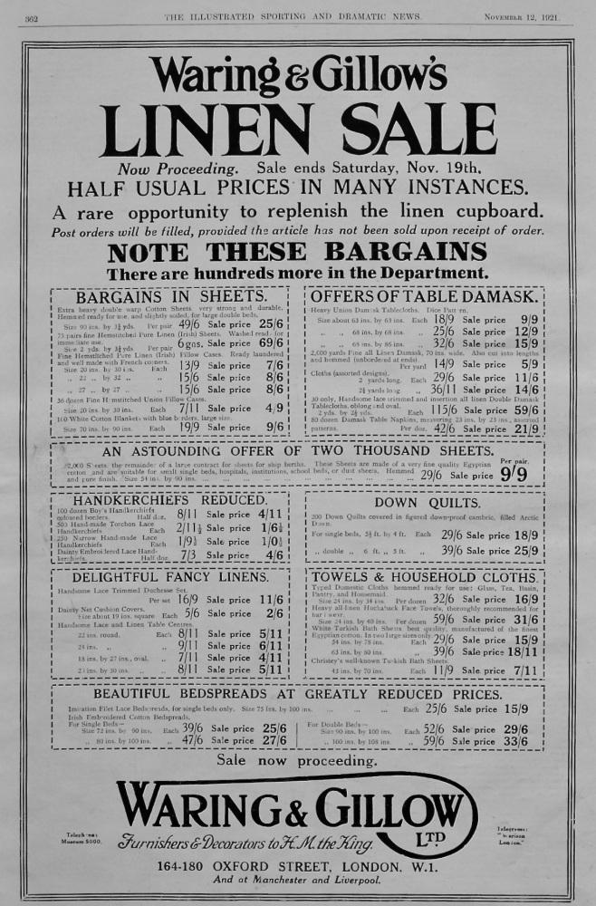 Waring & Gillow's Ltd.  (Linen Sale).  1921.
