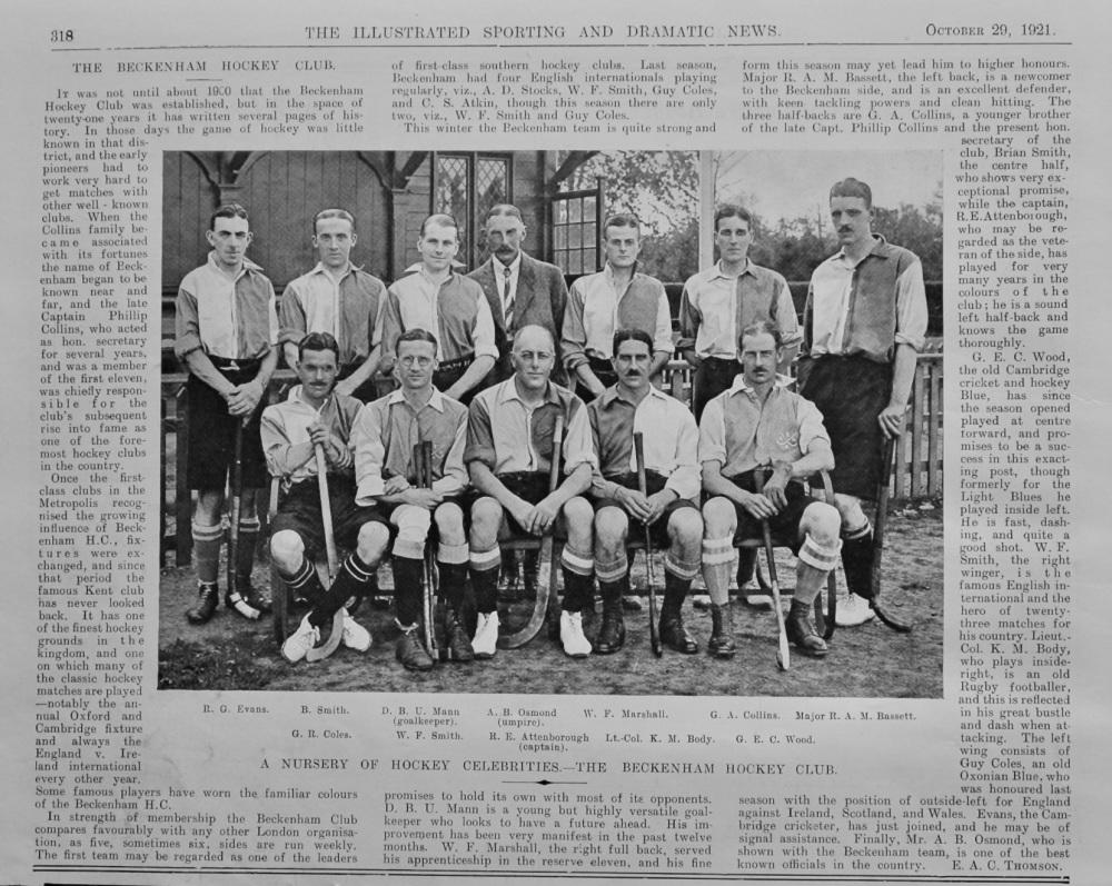 The Beckenham Hockey Club.  1921.
