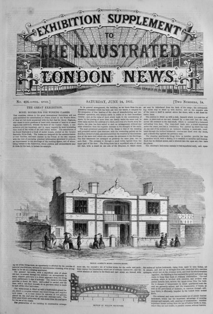 Great Exhibition Supplement to the Illustrated London News June 14th 1851. (Crystal Palace.)