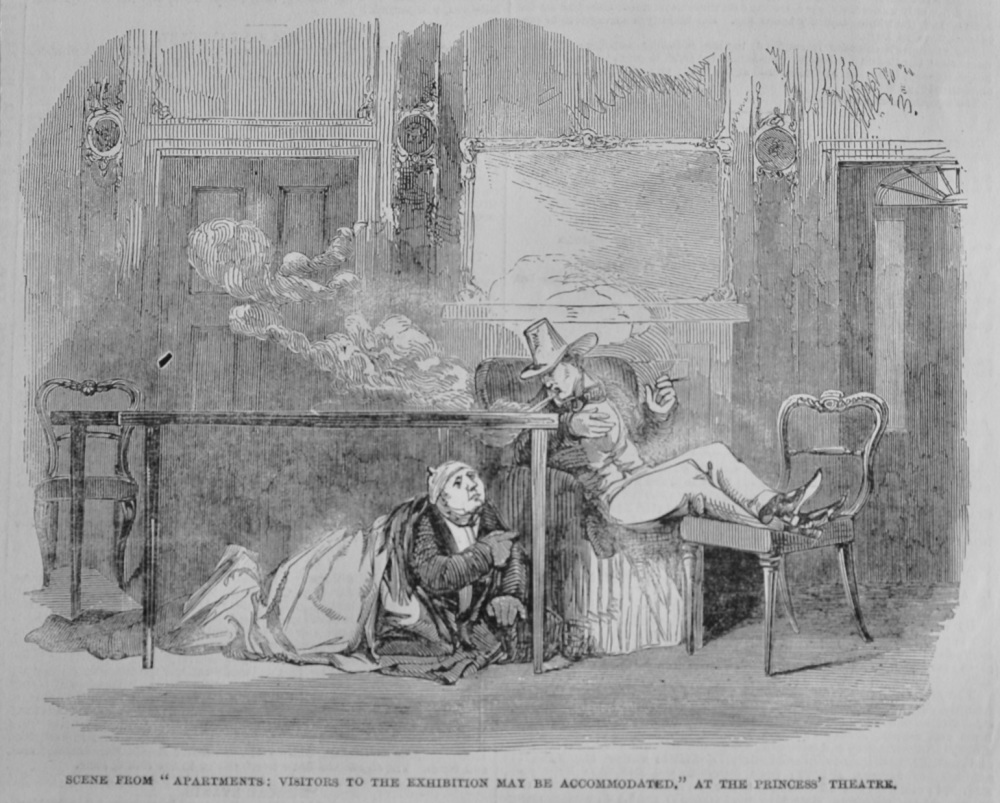 """Scene from """"Apartments :  Visitors to the Exhibition may be Accommodated."""" At the Princess' Theatre.  1851."""
