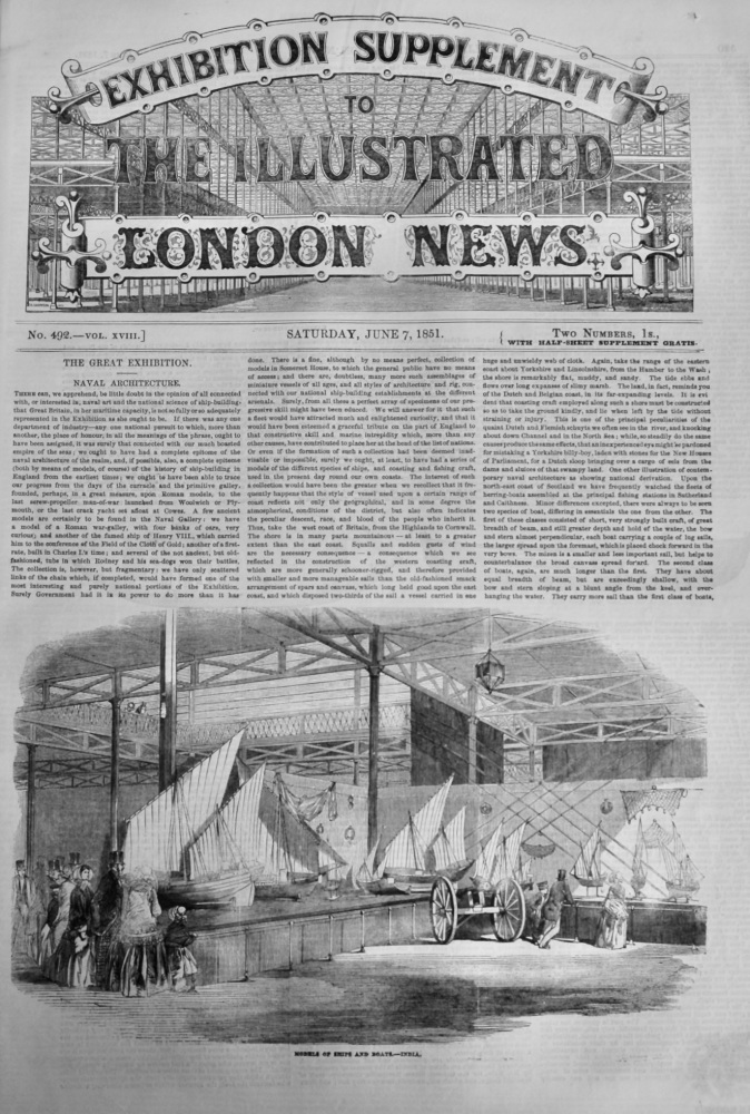 Great Exhibition Supplement to the Illustrated London News, June 7th, 1851.