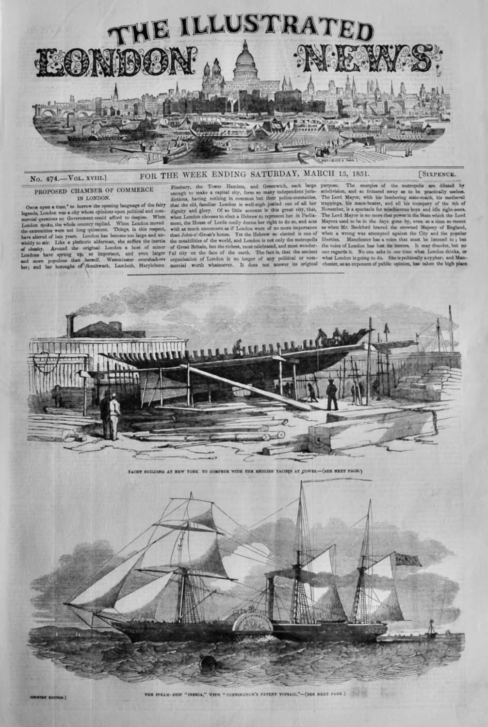 Illustrated London News, March 15th 1851.