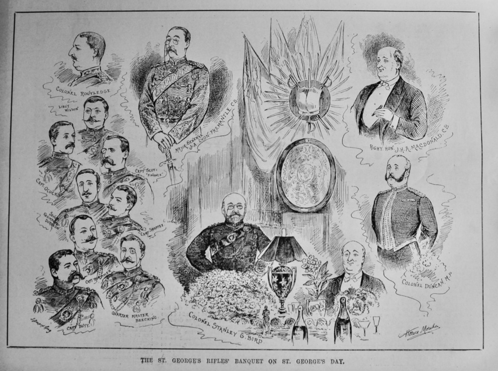 The St. George's Rifles' Banquet on St. George's Day.  1887.