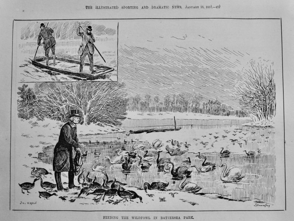 Feeding the Wildfowl in Battersea Park.  1887.